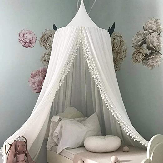Grey Children Bed Canopy Round Dome Kids Princess Play Tents Room Decoration for Baby Cotton Mosquito Net nursery decorations