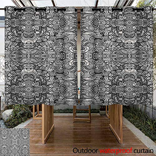 AndyTours Outdoor Curtains,Abstract,Abstract Composition Floral and Geometric Elements Symmetrical Tattoo Design,for Porch&Beach&Patio,K160C160 Beige Black