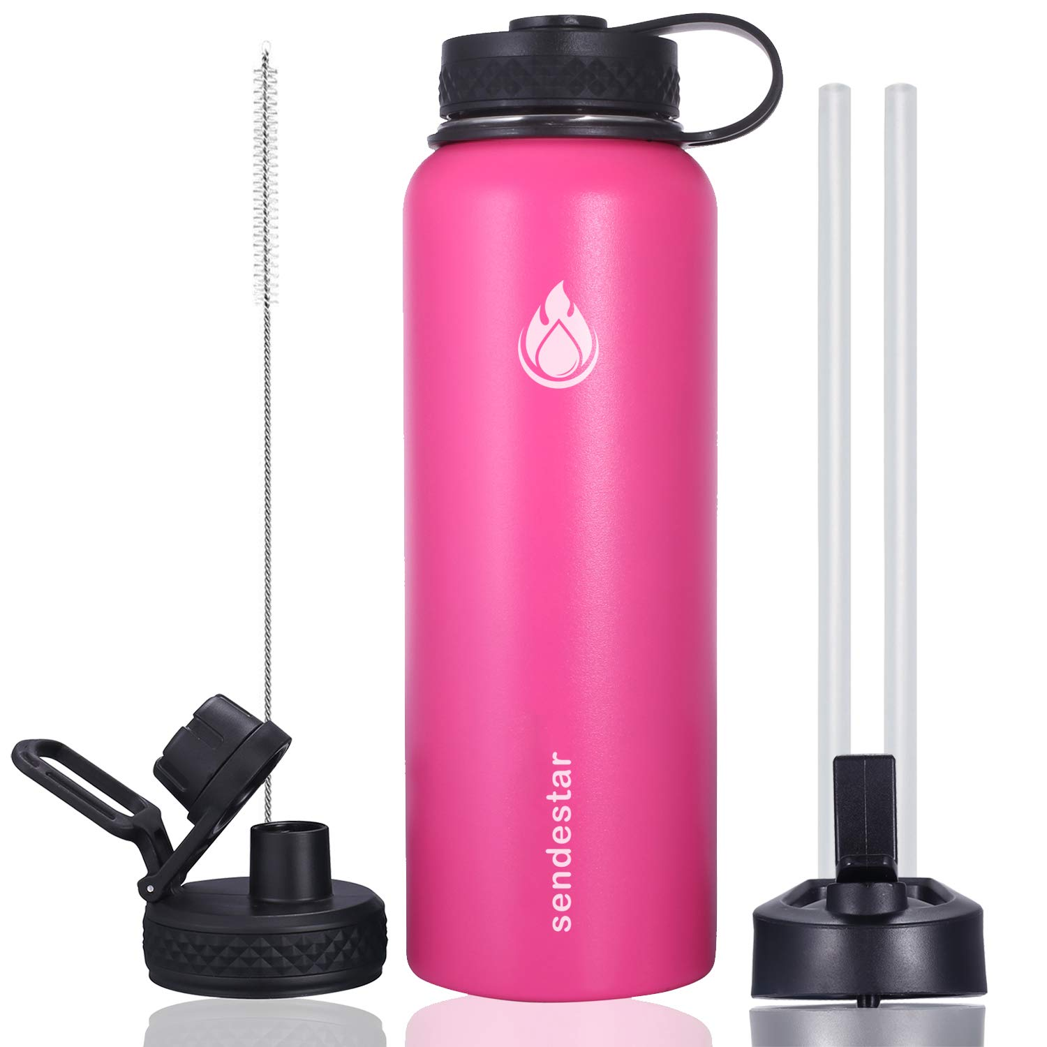 Sendestar 32 oz or 40 oz Double Wall Vacuum Insulated Leak Proof Stainless Steel Sports Water Bottle -Wide Mouth with Straw Lid & Flex Cap & Spout Lid (40 oz, Pink)