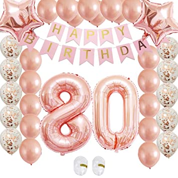 80th Birthday Decorations Party Supplies Rose Gold Kits Confetti Latex Balloon