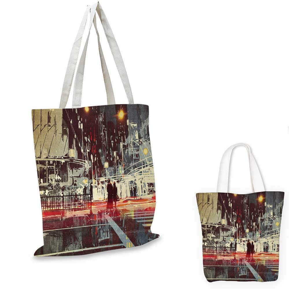 12x15-10 Modern canvas messenger bag Urban City Streets at Gloomy Night with People Downtown Dramatic Illustration canvas beach bag Red Blue Grey