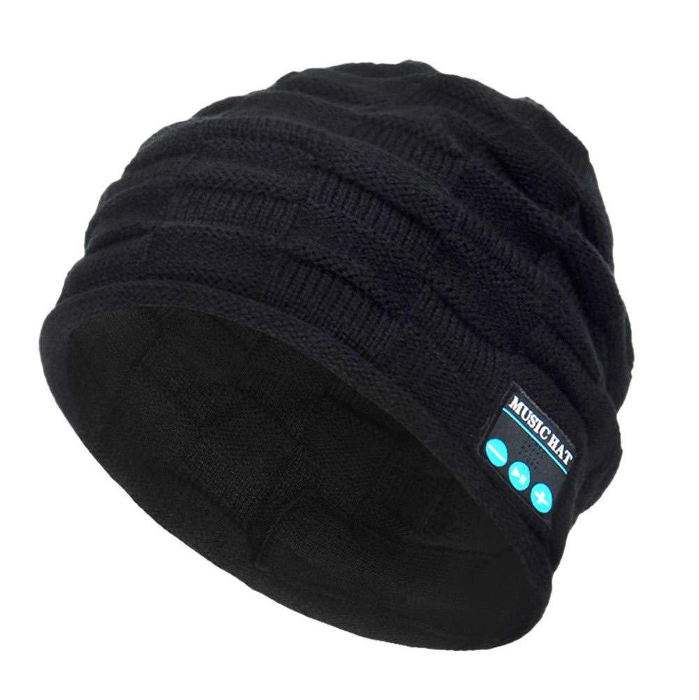 PASATO New Winter Unisex Bluetooth Wireless Smart Beanie Keep Warm Windproof Hat Handsfree Music Speaker (Black,Free Size)