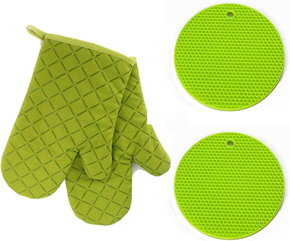 Pot holders and Oven Mitts Silicone 2 Mitts Mats Flexible for Cooking Baking Grilling Barbecue