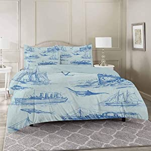 YUAZHOQI Nautical 3 Pieces Duvet Cover Set Full, Nautical Underwater Wildlife Shark Ancient Boat Ships Navy Stormy Weather Premium Washed Microfiber Comforter Cover and 2 Pillow Shams