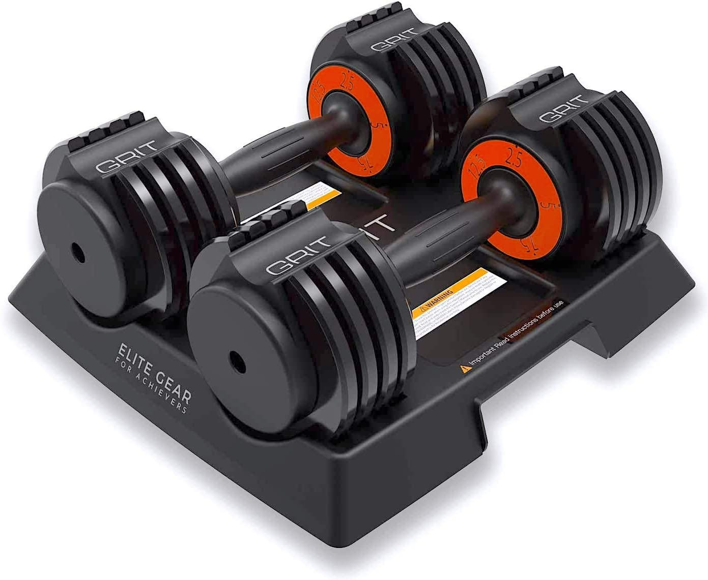 GRIT Adjustable Dumbbells Pair - 2.5 to 12.5 Lb - Fast Adjusting Dial Weights - Workout Exercise, Strength Training and Core Fitness at Home Gym for Men & Women - Easy Removable Plates, 2 Pack 25lb