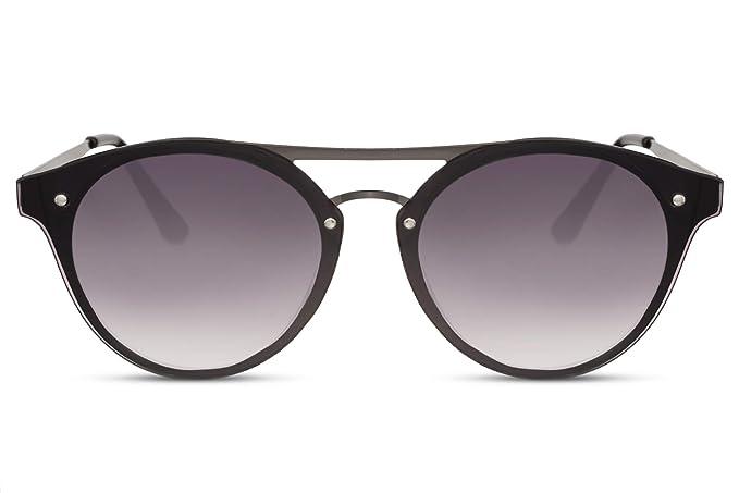 6d3b10dab0 Cheapass Gafas de Sol Exclusivas Puente Doble Flat Redondas Metal Montura  Negra protección UV400 Mujer: Amazon.es: Ropa y accesorios