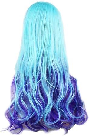 Fotografica Pal 70/cm Cosplay parrucca blu lunga ondulata capelli sintetici degradato Lolita pastello Harajuku