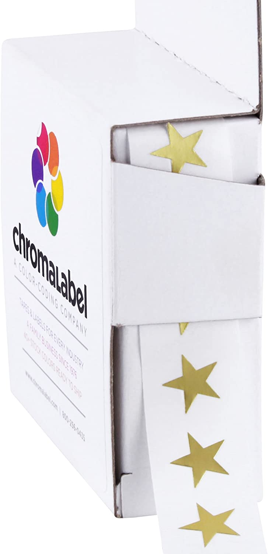 Permanent Adhesive Chromalabel.com 3//8 Star Stickers in Dispenser Box 9.5 mm Metallic Gold 1,000 Labels Per Box