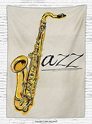 Jazz Music Decor Fleece Throw Blanket Classic Painting of Jazz Saxophone Print on Plain Background Vintage Style Band Deco Throw Blanket for es Yellow Ecru