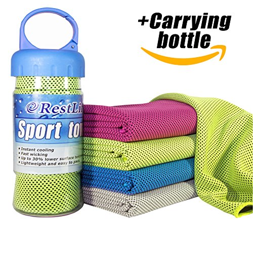 Gym towel, Set Towel + Bottle (Green), Gym Towels For Women, Instant Cooling Towel, Sport towel quick drying Use for Sports Bowling Fitness Yoga Pilates Travel Camping