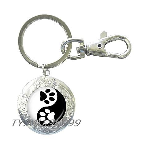 Amazon.com: Yin Yang llavero impresión de huella de mascota ...