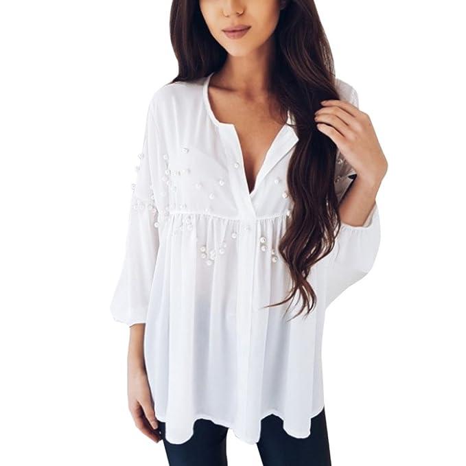 foto ufficiali 33887 92218 Mecohe Bluse e Camicie Donna, Donna Elegante Casuale Chiffon ...