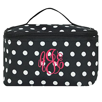 7ab1bb681e Image Unavailable. Image not available for. Color  Personalized Black and  White Polka Dot Cosmetic Makeup Bag