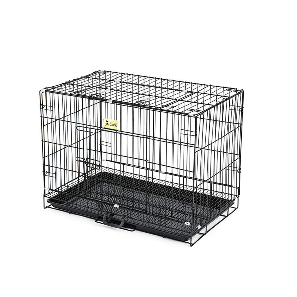 BLACK 61x43x50cm BLACK 61x43x50cm Dog Cage Iron Folding With Toilet Small Medium Large Dog Teddy Law Fighting Keji Indoor Pet Cage Puppy (color   BLACK, Size   61x43x50cm)