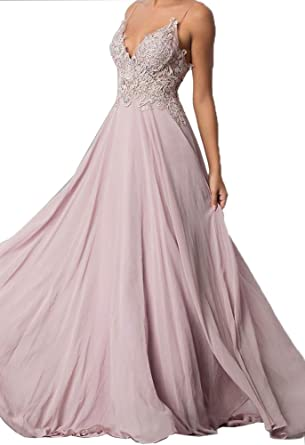 Hatail Applique Prom Dress Long Backless Chiffon Bridesmaid Evening Gown 2018 - Pink -