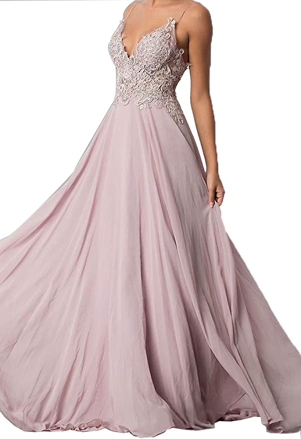 Hatail Applique Prom Dress Long Backless Chiffon Bridesmaid Evening Gown 2018 - Pink -: Amazon.co.uk: Clothing
