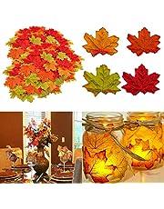 MUSCCCM Herbst Dekoration Ahornblatt, 400 Stück Verschiedene Gemischte Herbst Farbige Künstliche Ahornblätter für Hochzeiten, Thanksgiving, Veranstaltungen und Outdoor Maple Leaf Cafe Dekoration