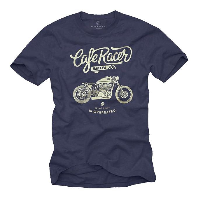 MAKAYA Funny Motorbike T-Shirt for Men - Cool Motorcycle Gifts Blue S