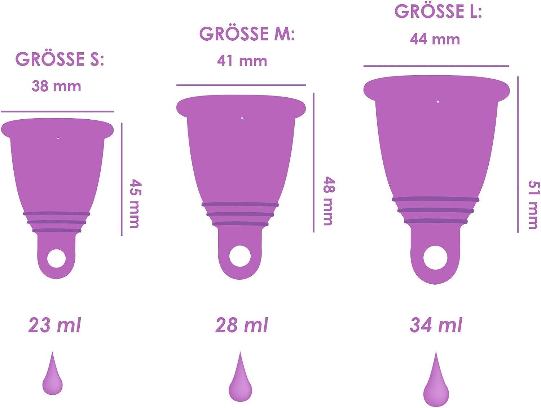 CarrieCup Copa menstrual mediana, fabricada en Alemania, sin BPA, alternativa a tampones y compresas, sin silicona, incluye bolsa de color lila