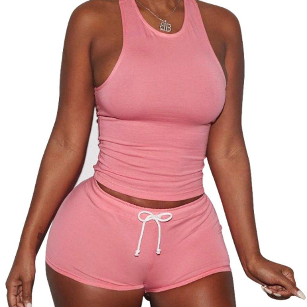 Women's Pink Round Neck Tank Top Short Pant Workout Set Tracksuit