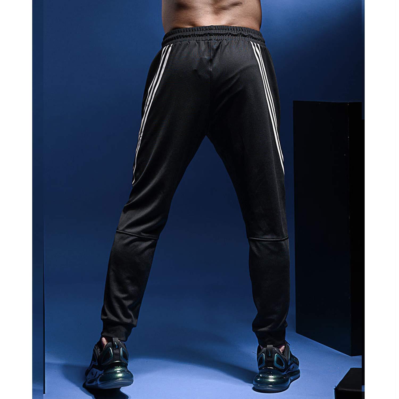 RIOJOY Pantalones de ch/ándal de entrenamiento casual a rayas delgados con bolsillo y cremallera para hombre