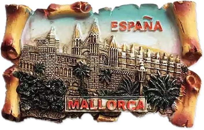 Weekinglo Souvenir Imán de Nevera Mallorca España 3D Resina Artesanía Hecha A Mano Turista Viaje Ciudad Recuerdo Colección Carta Refrigerador Etiqueta: Amazon.es: Hogar