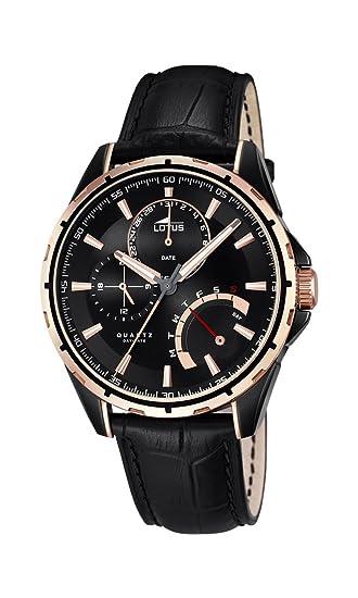 Lotus 18212/1 - Reloj de pulsera hombre, Cuero, color Negro