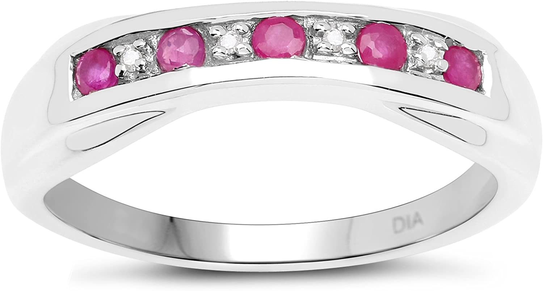 La Colección de Anillos de Diamantes: Anillo Plata 6mm Ancho de Rubi & Diamante natural set de canal Anillo de Eternidad, Tallas 6 8 9 10 12 13 14 16 17 19 20 21 22 24 25