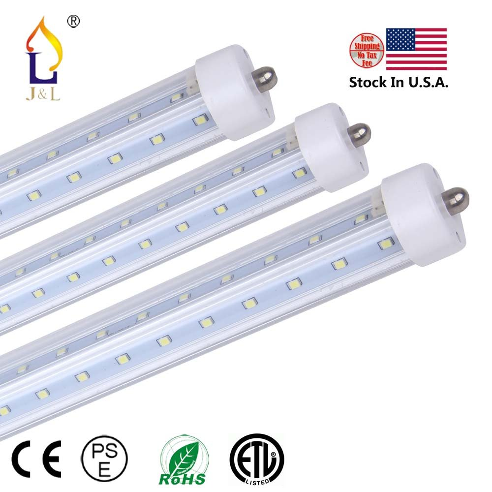 (6 Pack) ETL Double rows T8 LED Light Tube V shape 8ft 48W single pin FA8 3000k/4000k/6500K white daylight Work without ballast Work Shop Lighting Replacement for garage, Double-Ends Power