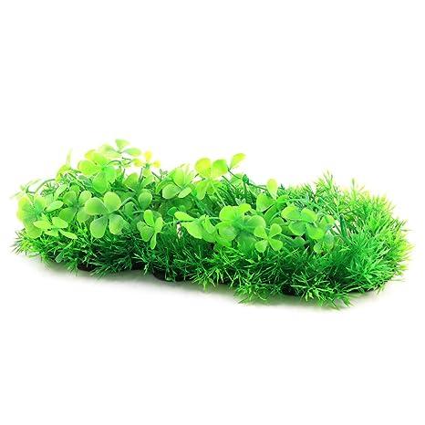 sourcing map Peces acuario tanque plástico Planta artificial grass Ornamento Espacio de aterrizaje tricolor
