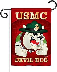 Breeze Decor US Marine Corps USMC Semper Fi Double-Sided Lawn Decoration Gift House Garden Yard Flag Devil Dog United State American Military Veteran Retire, 13