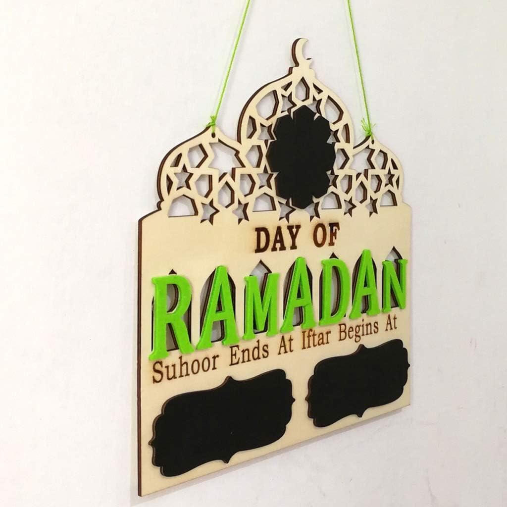 BloomingJS Islam Ramadan Countdown to EID Mubarak Advent Wooden Hanging Plaque Message Board Home DIY Decor Crafts Party Supplies