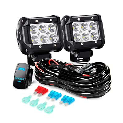 "Nilight LED Light Bar 2PCS 18W Spot Led Off Road Lights 12V 5Pin Rocker Switch LED Light Bar Wiring Harness Kit, 2 Years Warranty, 2Pcs 4"" Spot Lights: Automotive"