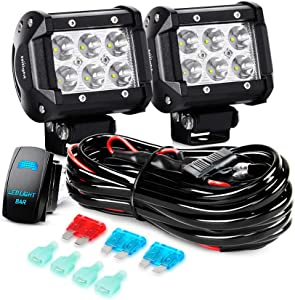"Nilight LED Light Bar 2PCS 18W Spot Led Off Road Lights 12V 5Pin Rocker Switch LED Light Bar Wiring Harness Kit, 2 Years Warranty, 2Pcs 4"" Spot Lights"