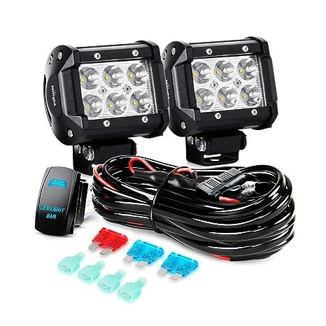 Nilight LED Light Bar 2PCS 18W Spot Led Off Road Lights 12V 5Pin Rocker on