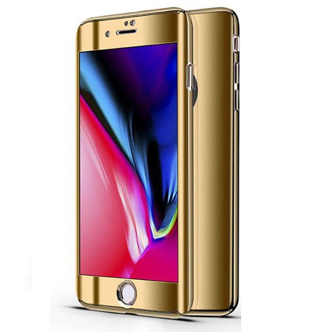 iPhone 8 Plus Case Slim 360 Degrees Full Body Protection 3IN1 Anti-Scratch Plating Mirror Case Cover with Tempered Glass Screen + Hard PC Protector (iPhone 8 Plus, Gold)
