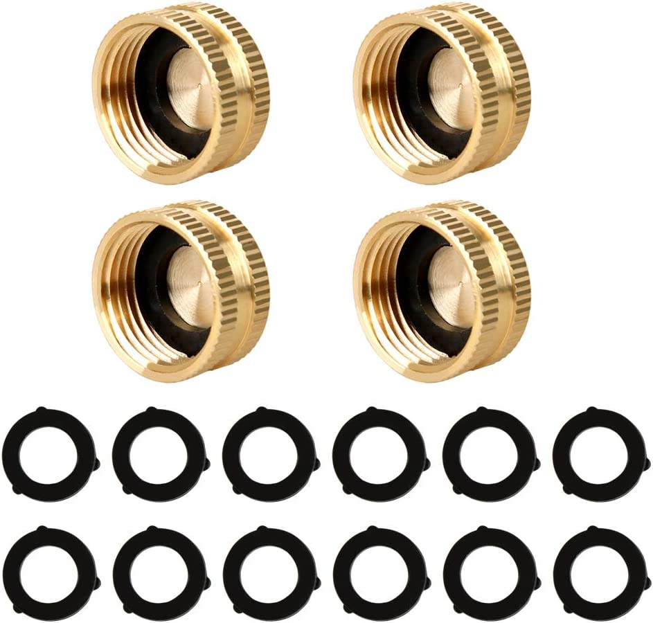 Atmozon Garden Hose Female End Cap Connector,Solid Brass Spigot Cap Adapter,Swivel Female End Cap Connect Kit 4-Pack with Extra 12 Washers for Standard Hose 3/4 Inch Male Thread Watering Equipment