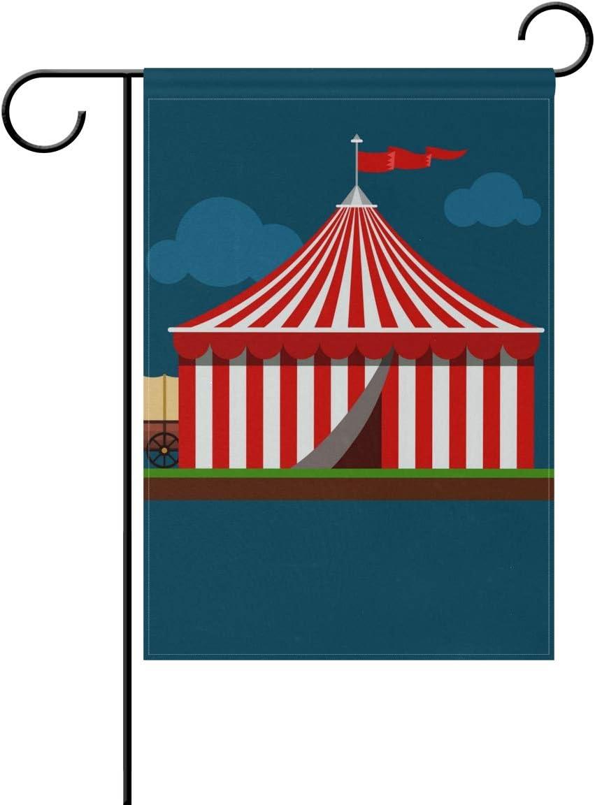 Jojogood Circus Striped Wagon Wheel Garden Flag 28