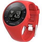 para reloj polar m200 correas 6 colores bandas de reemplazo suave silicona correas pulsera para POLAR M200 GPS reloj smartwatch, ancho de banda 20MM by Sannysis (rojo)