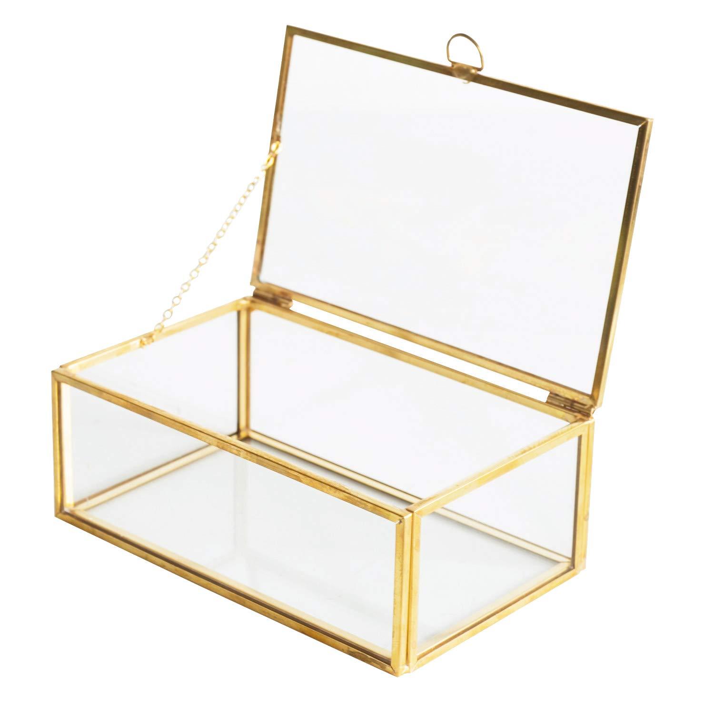 Copper Golden Vintage Glass Lidded Box Laced Edge Bracelet Keepsake Decorative Jewelry Display Personalized Large Clear Rectangle Box Rings Bracelet Golden Organizer Home Decor