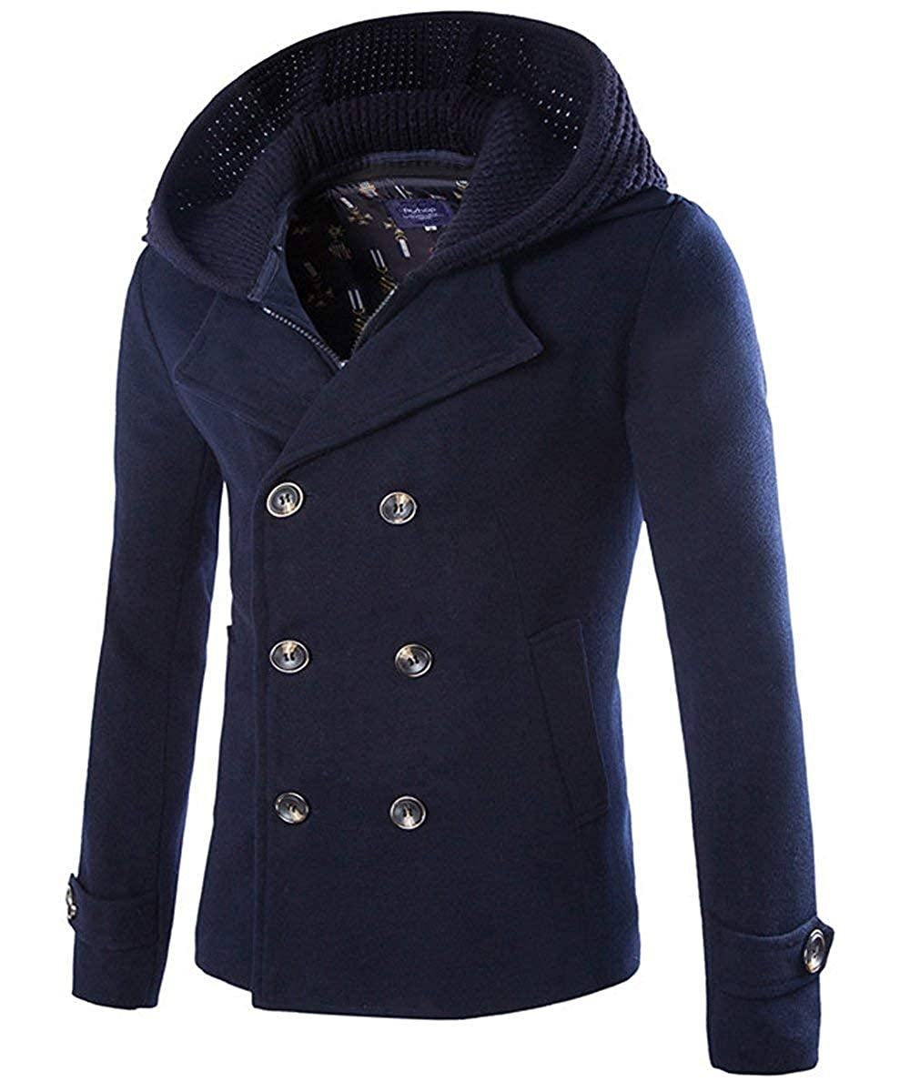 Cloudstyle Unisex Vintage Short Length Pea Coat Winter Hooded Coat Double Breasted Outerwear AWD116