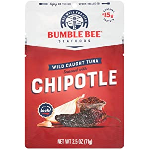 BUMBLE BEE Chipotle Seasoned Tuna, 2.5 oz. Pouch with Spoon (Pack of 12), Wild Caught Tuna Fish, Tuna Pouch, High Protein, Keto Food, Keto Snack, Gluten Free, Paleo Food