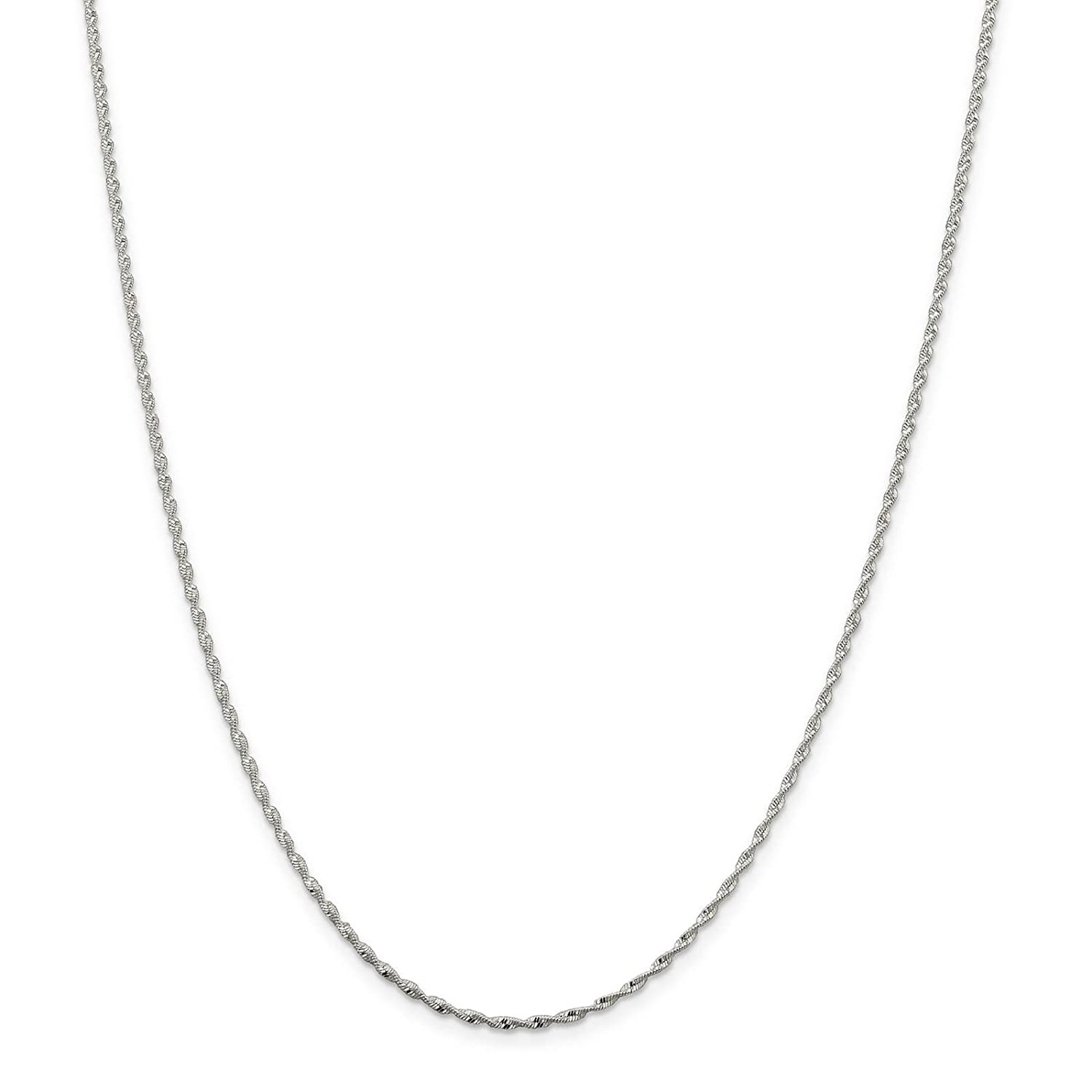 925 Sterling Silver 1.6mm Twisted Herringbone Chain Necklace 7-24