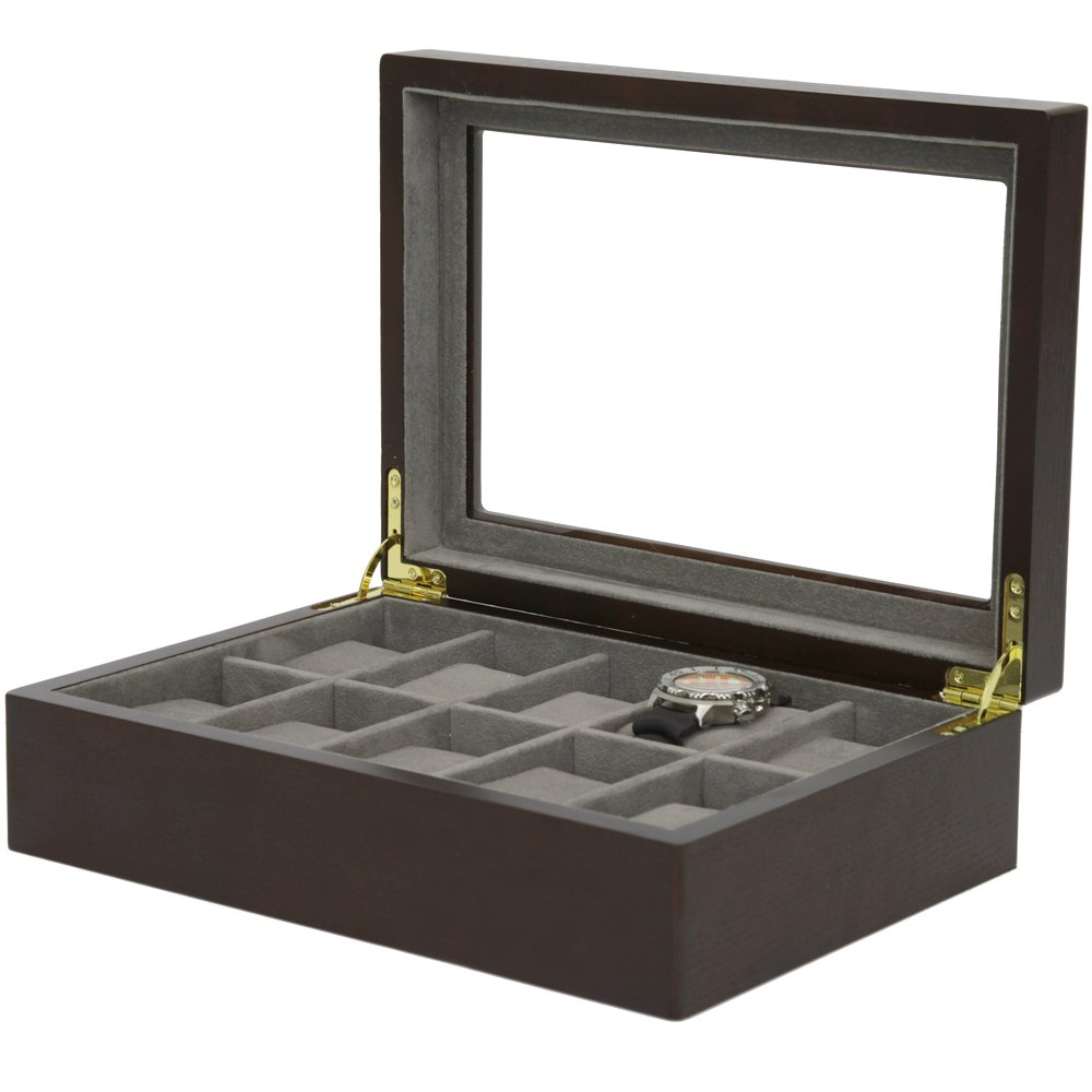 Watch Box Wood Grain XL Large Compartments High Clearance Glass Window (Espresso Brown, 10 Watch Box)