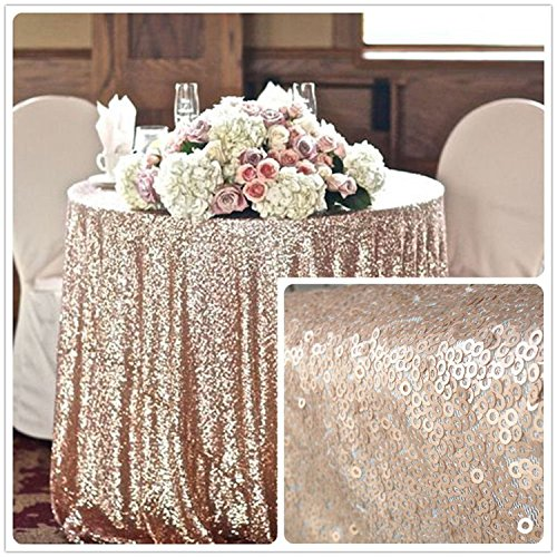 TRLYC Round Champagne Sequin Christmas Wedding Tablecloth-72