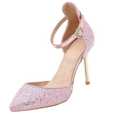 AIYOUMEI Damen Stiletto High Heels Glitzer Pumps mit Pailletten und Strass Knöchelriemchen Hochzeit Schuhe HNbuR