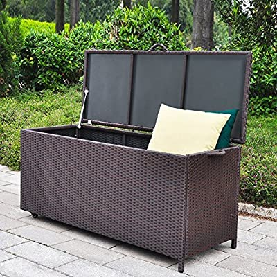 Outdoor Patio Wicker Storage Container Deck Box made of Antirust Aluminum Frames and Resin Rattan, 20-Gallon (Brown)