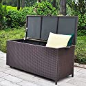 Outdoor Patio Wicker Storage Container Deck Box made of Antirust Aluminum Frames and Resin Rattan, 20-Gallon (Brown) (Large, Brown)