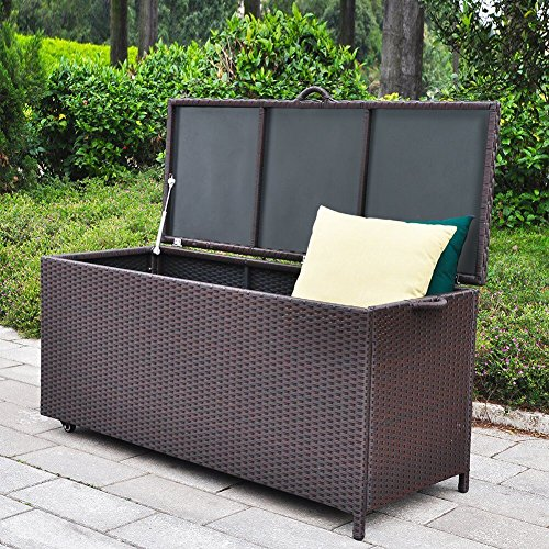 Outdoor Patio Wicker Storage Container Deck Box Antirust (Large Image)