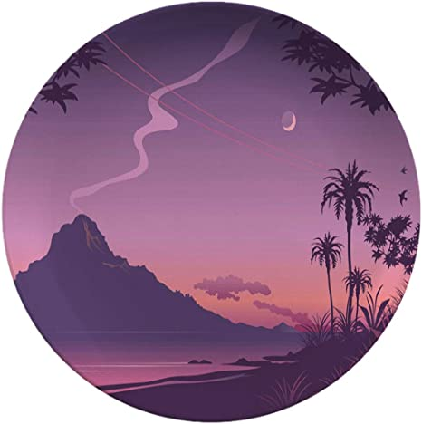 Creative Round Dinner Plates Tropical Sunset Illustration In Shades Of Purple Decor For Living Room Wall Dining Table Office 6 Inch Dinner Plates